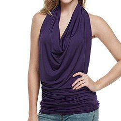 BOLUBILUY Women Sexy Halter Tops Drape Cowl Neck Crop Tops Backless Sleeveless Shirt Solid Color ...