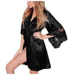 NREALY PJ Women's Sexy Silk Kimono Dressing Babydoll Lace Lingerie Belt Bath Robe Nightwea ...