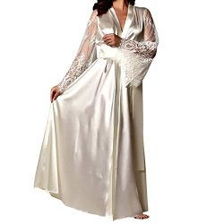 Gallity Women's Satin Silk Lace Full Slip Silk Nightdress Long Sleepwear Robe (L, White)
