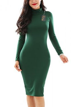 YMING Women Long Sleeve Turtleneck Bodycon Bandage Ball Midi Dress Green L
