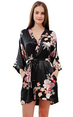 GoldOath Women's Floral Silk-Like Kimono of New Black Robes for Bride and Bridesmaid Weddi ...