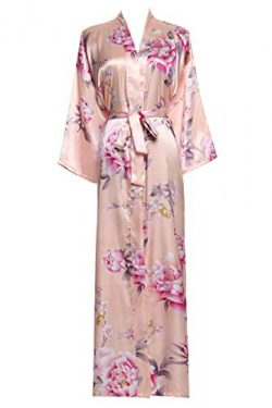 Zarachilable Women 's Long Kimono Robe Floral Bridesmaid Robe,Bridal Robe (one Size, Peony ...
