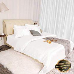 Sandover 3 Piece Home Bedding Satin Silk Duvet Cover Set for Comforter Blanket Ultra Soft  Size  ...