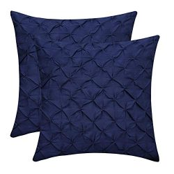The White Petals Navy Blue Cushion Covers (Faux Silk, Pinch Pleat, 16×16 inch, Pack of 2)