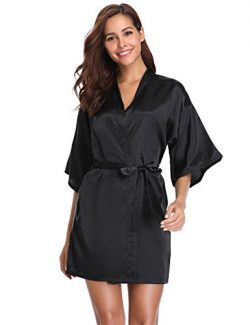 Vlazom Women Kimono Robes Satin Dressing Gown Short Silk Bridal/Bridesmaid Party Robe Nightwear  ...