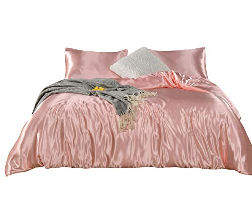 Pink Bedding Silk Like Satin Duvet Cover Set Light Pink Silky Microfiber Quilt Cover Pink Girls  ...