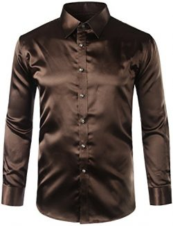ZEROYAA Mens Regular Fit Long Sleeve Shiny Satin Silk Like Dance Prom Dress Shirt Tops Z6 Coffee ...