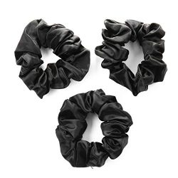 100% Premium Mulberry Silk Hair Luxe Scrunchies (Pack of 3 Black Hair Ties Per Box)