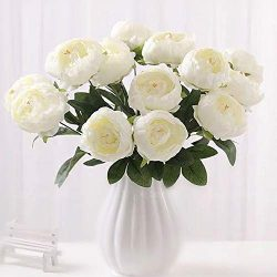 Shine-Co 10 Heads Artificial Peony Silk Fake Flowers Vintage Peony Bouquet for Wedding Party Dec ...