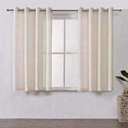 DWCN Beige Sheer Curtains for Bedroom Grommet Top Window Curtain Semi Transparent Faux Silk Drap ...