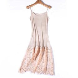 Zylioo Women`s 100% Mulberry Silk Strap Full Slips Dresses Lace Comfy Slim Fit Camisole Under Dr ...