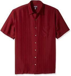 Van Heusen Men's Big and Tall Poly Rayon Short Sleeve Button Down Shirt, Red Syrah, 3X-Large