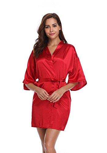 Vlazom Women Kimono Robes Satin Dressing Gown Short Silk Bridal/Bridesmaid Robe Nightwear with O ...
