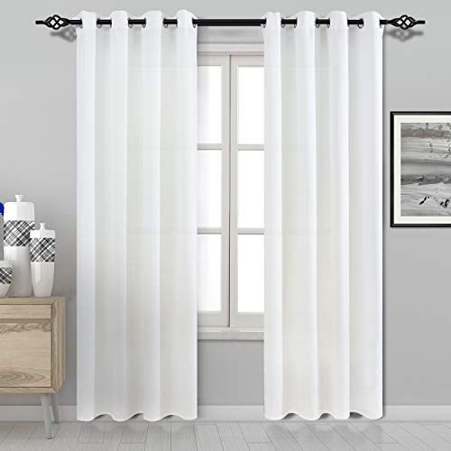 DWCN White Semi Sheer Curtains for Living Room Faux Silk Grommet Window Curtains Privacy Curtain ...