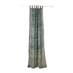 GREY SILVER Curtain Colorful Window Treatment Draperies Indian Sari panel 108 96 84 inch for bed ...