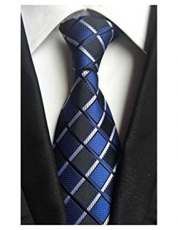MINDENG New Men's Black and White Striped Silk Jacquard Woven Suits Tie Necktie