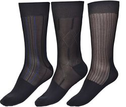 Mens Thin Socks Silk Sheer Trouser Sock Mid-Calf Cool For Summer 3 Packs