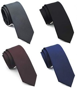 "Skinny Neckties Solid Matte Color Slim Neck Tie 2(1/2)"" 4-Colors TC040E,Narrow,(4 Pack)"