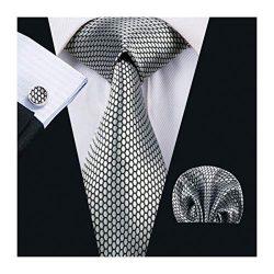 Silver Plaid Tie Silk Hanky Cufflinks Set Business Woven Necktie Formal Fashion