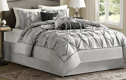 Madison Park Laurel King Size Bed Comforter Set Bed in A Bag – Grey, Wrinkle Tufted Pleate ...