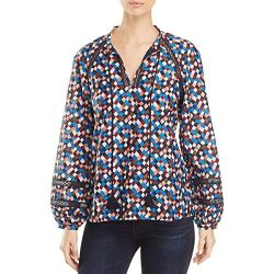 Tory Burch Womens Silk Lace Inset Tunic Top