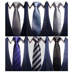 AVANTMEN New Men's neckties 6 Pack Classy Neck Tie for Men Woven Jacquard Neck Ties