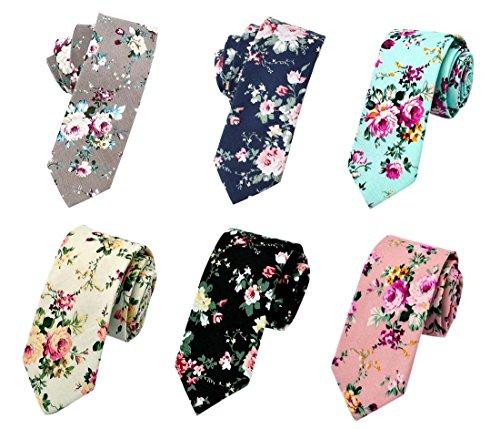 Men's Ties,Cotton Floral Printed Slim Skinny Ties for Men Neckties Pack of 6 (Pack A (6PCS ...