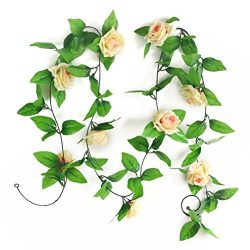 ULTNICE 2pcs Artificial Silk Rose Flower Green Leaf Garland Hanging Decor (Champagne)