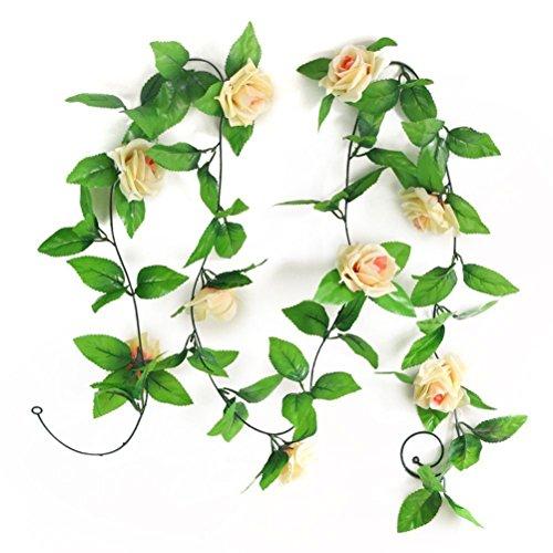 ULTNICE 2pcs Artificial Silk Rose Flower Green Leaf Garland Hanging Decor (Champagne)
