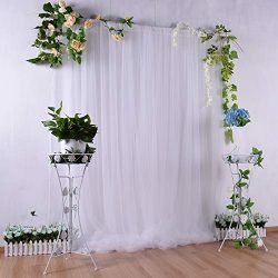White Tulle Backdrop Curtain 5ft×7ft for Wedding Baby Shower Decorations Photography Background  ...