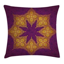 Ambesonne Purple Throw Pillow Cushion Cover by, Traditional Mandala Moroccan Royal Colors Mystic ...