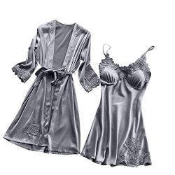New Women Sleepwear Kimono Set,Ladies Sexy Lace Pad Lingerie Silk Lace Robe Dress Babydoll Night ...