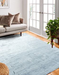 Bashian radiance collection WZ hand loomed 100% banana silk area rug, 7.9′ x 9.9′, Sky