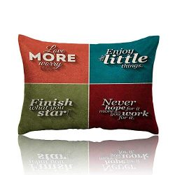Quotes Cars Pillowcase Collection of Minimalistic Style Love More Worry Less Enjoy The Little Th ...