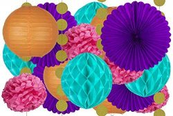 20 pcs Hanging Paper Party Decoration Supplies Kit in Orange, Pink, Purple, Teal, and Glitter Go ...