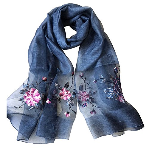 Womens printing Embroidery Long Scarf Lightweight Wrap Shawl Silk Scarf (5#)