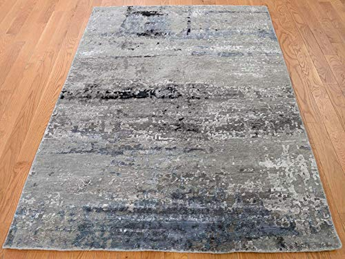 "4'x5'10"" Hi-Low Pile Abstract Design Wool And Silk Hand-Knotted Rug G43011"