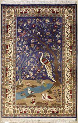 RugsTC 4'1 x 6'1 Pak Persian Area Rug with Silk & Wool Pile – Pictorial Hu ...