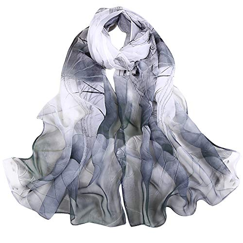 Silk Scarf-Han Shi Fashion Women Vintage Lotus Print Long Soft Wrap Shawl Wrap (Black, L)