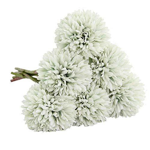 Artificial Flowers, Fake Flowers Silk Plastic Artificial Hydrangea 6 Heads Bridal Wedding Bouque ...