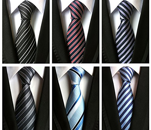 XTAPAN Men's 6 PCS Classic Neckties Woven Jacquard Polyester Silk Business Neck Ties Set 5 ...