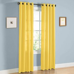 Gorgeous Home 1 PANEL SOLID YELLOW SEMI SHEER WINDOW FAUX SILK ANTIQUE BRONZE GROMMETS CURTAIN D ...