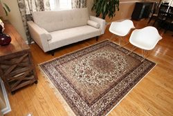 Silk Ivory Cream Traditional Isphan Area Rugs Ultra Low Pile 8'3 Round 250x250cm