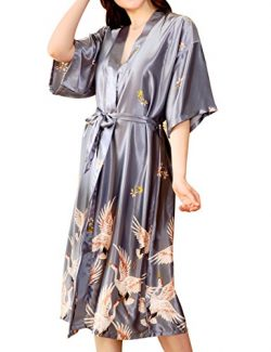 Aensso Women's Satin Robe Long Kimono Bathrobe Short Sleeve V-neck Nightgown (XXXL, Luxury)