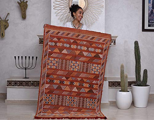 Moroccan Cactus Silk Rug, Hand Woven by Berbers from Morocco's High Atlas Mountains, 5R ...