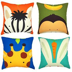YOUR SMILE Imitated Silk Fabric Cute Animal Decorative Throw Pillow Case Cushion Cover Pillowcas ...
