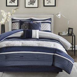 Madison Park Blaire Queen Size Bed Comforter Set Bed in A Bag – Navy, Stripe – 7 Pieces Be ...