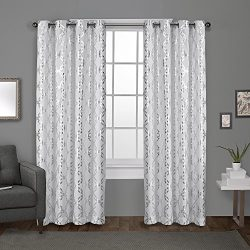 Exclusive Home Modo Metallic Geometric Grommet Top Curtain Panel Pair, Winter White, 54×108 ...