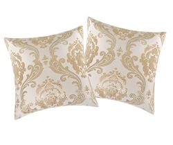 INVACHI 2 Pack of Shinny Silk Pillowcase Silver Jacquard Fabric Square Pillow Cushion Covers for ...