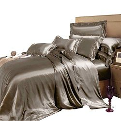 THXSILK 19 Momme Silk Duvet Cover Set 4 Piece, Silk Sheets, Luxury Bedding Sets – Ultra So ...